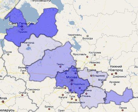 Карта районов доставки контейнеров в 2008 году